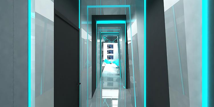 designerski projekt wnętrza holu w hotelu