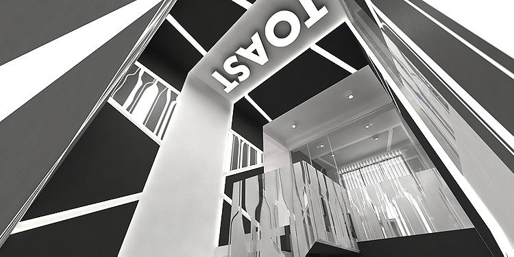 projekt wnętrza klatki schodowej w biurowcu firmowym
