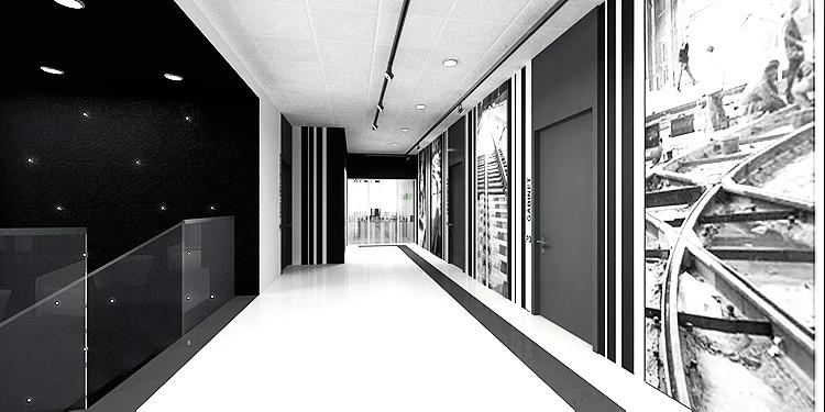 projekt wnętrza nowoczesnego holu w biurowcu