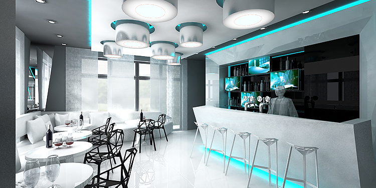 aranżacja wnętrza baru w nowoczesnym hotelu