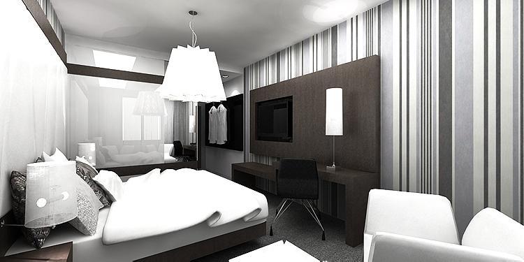 projekt wnętrza nowoczesnego pokoju hotelowego