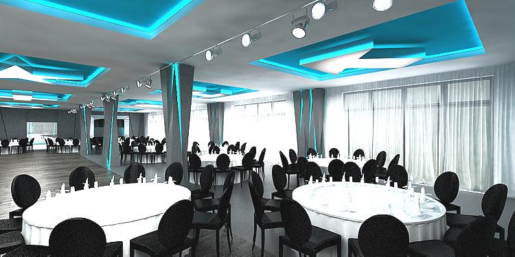 projektowanie wnętrza hotelu - sala bankietowa
