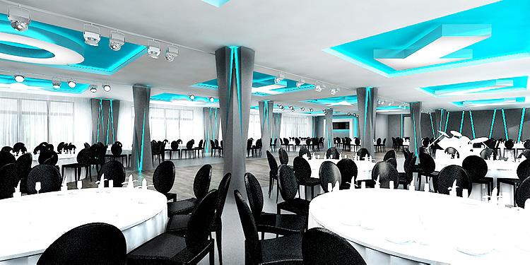 projekt wnętrza sali bankietowej w nowoczesnym hotelu