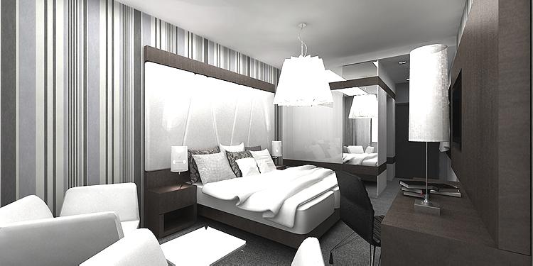 luksusowa aranżacja wnętrza pokoju hotelowego