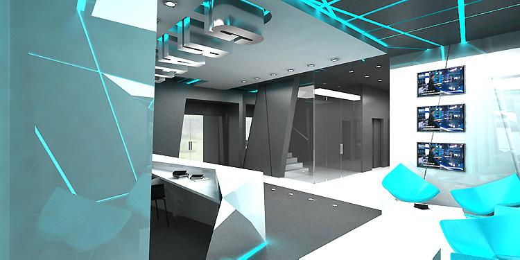 nowoczesne wnętrze recepcji i holu głównego