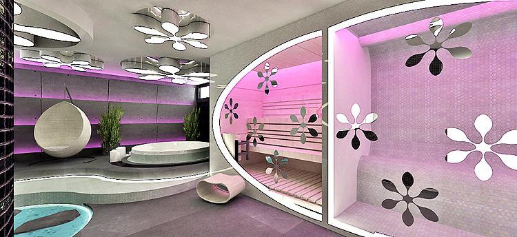 projekt wnętrza gabinetu spa - sauna