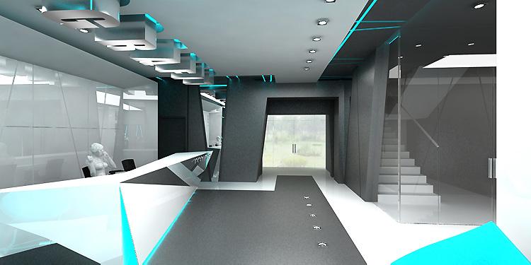 hol główny w hotelu - projekt architektury wnętrz