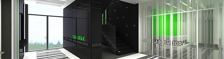 hol z klatką schodową - nowoczesna aranżacja wnętrza