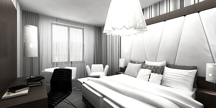 nowoczesne wnętrze pokoju w hotelu