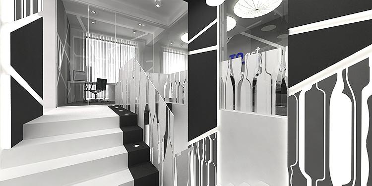 projekt wnętrz biurowych - klatka schodowa