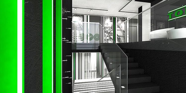 designerskie wnętrze klatki schodowej