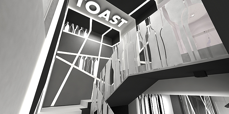 deisgnerski projekt wnętrza klatki schodowej w biurowcu