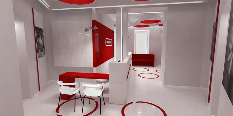 wnętrze recepcji i poczekalni w klinice
