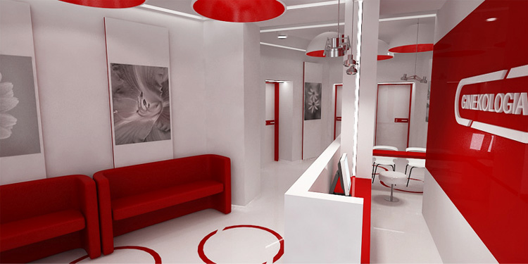 projektowanie wnętrza recepcji i poczekalni w centrum ginekologicznym