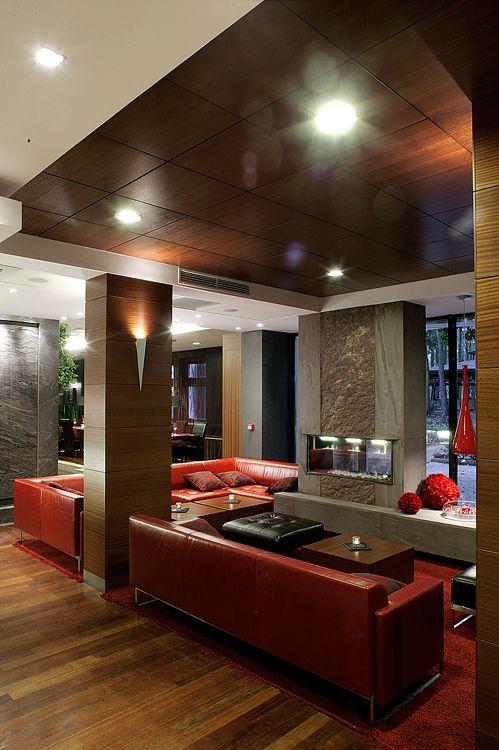 nowoczesne wnętrza hotelowe - lobby bar