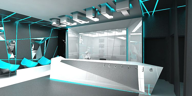 designerski projekt wnętrza hotelu - recepcja