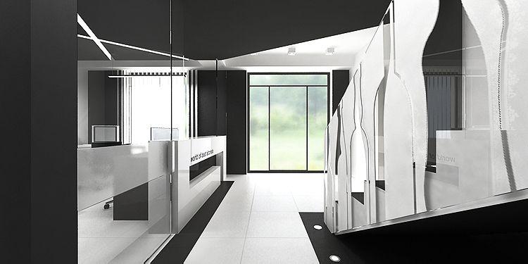 hol główny i recepcja w hurtowni - projekty wnętrza