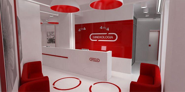 nowoczesne wnętrze kliniki ginekologicznej - recepcja