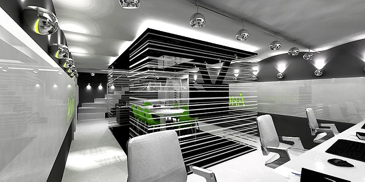 sala konferencyjna w biurze typu open space - projekt