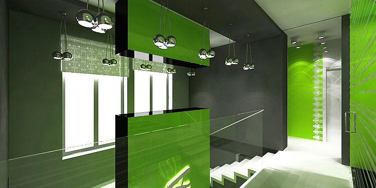 nowoczesne wnętrze biurowca - hol i klatka schodowa