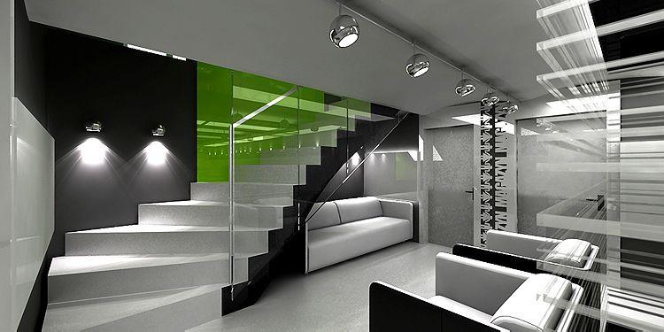wnętrze biurowca - hol z klatką schodową