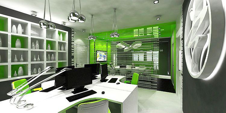 nowoczesne wnętrza biurowe - gabinety z salą konferencyjną