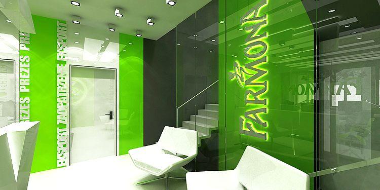 hol główny w nowoczesnym biurowcu - projekt wnętrza