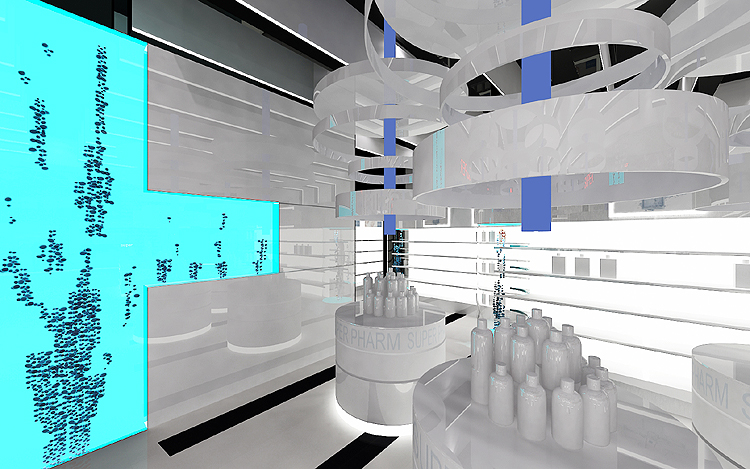 sklep kosmetyczny - luksusowy projekt wnętrz
