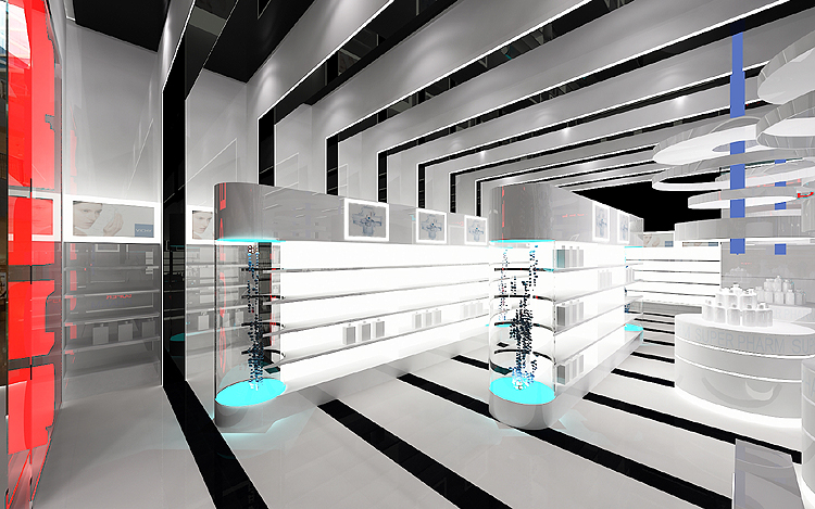 ekskluzywne wnętrze salonu sprzedaży, powierzchni handlowych