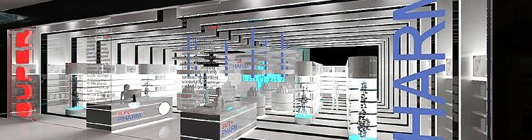 projekt wnętrza drogerii w centrum handlowym