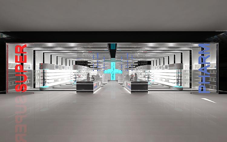 designerska aranżacja wnętrz centrum handlowego - drogeria