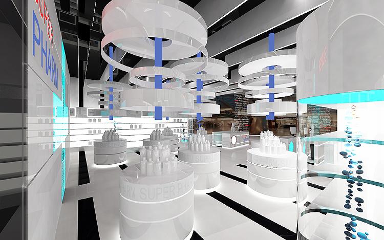 architektura wnętrza sklepu z kosmetykami, perfumerii