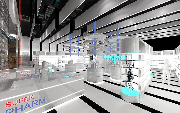 designerskie projekty wnętrz marketów kosmetycznych