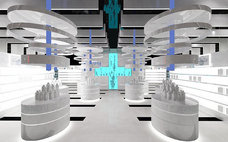 projektowanie wnętrza nowoczesnej apteki, drogerii