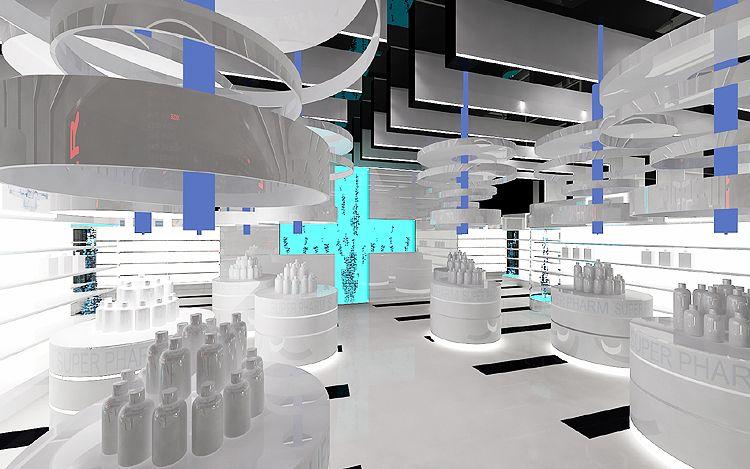 luksusowy projekt wnętrza galerii handlowej- drogeria