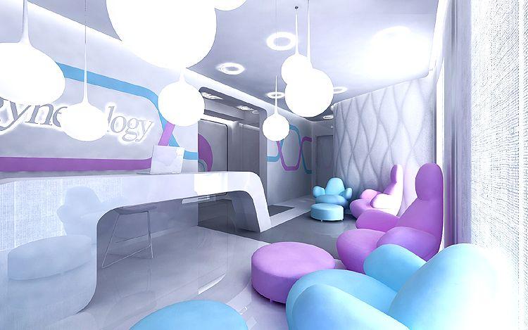 recepcja z poczekalnią w klinice - nowoczesna architektura wnętrz