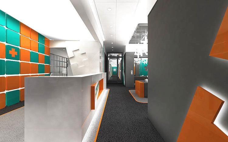 recepcja w biurze hol projekty wnętrz