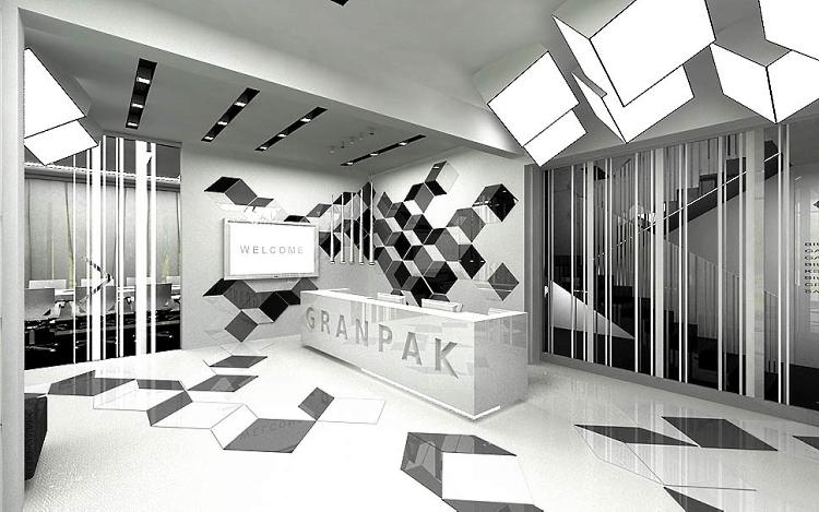 design wnętrze nowoczesnego biura recepcja design