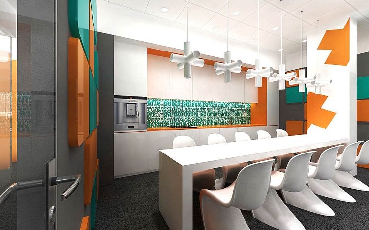 wnętrza socjalne w biurze design aranżacja