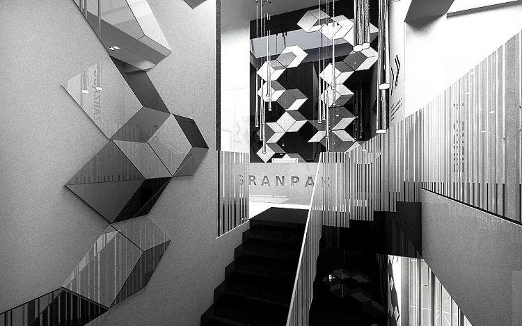 projekty wnętrz biurowych nowoczesnych recepcja