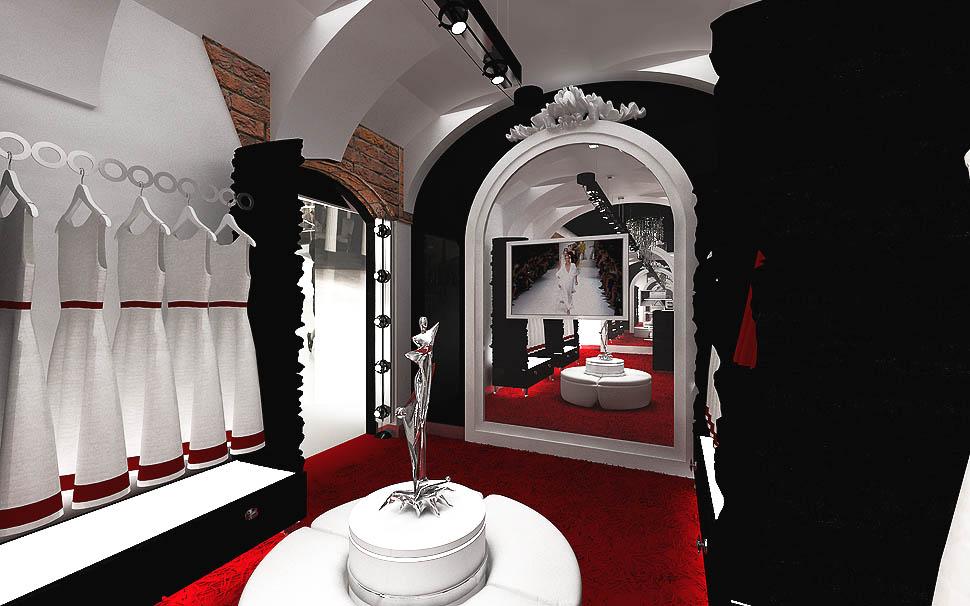 wnetrza projekty sklepu z odzieza luksusowa ekskluzywna aranzacja butik