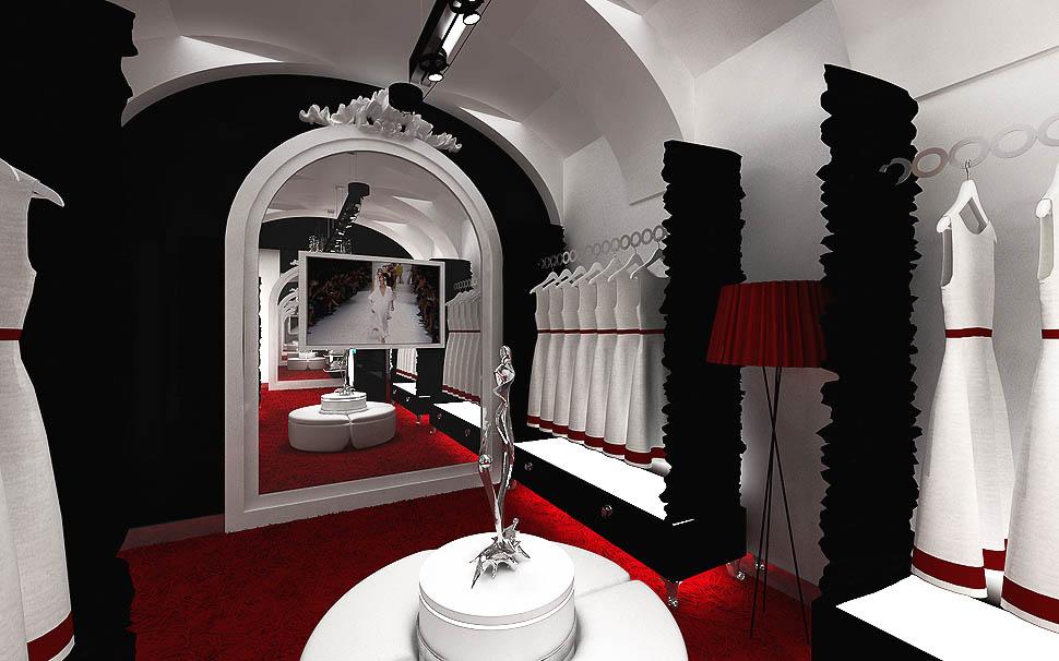wnetrza projekt sklepy z odzieza i torebkami luksusowe ekskluzywne butiki galeria handlowa